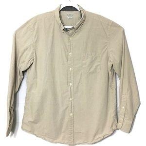 J.Crew Mens Tan White Checks Woven Shirt Size XL